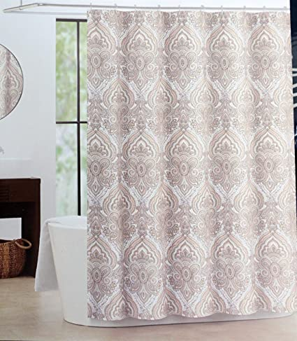 Tahari Fabric Cloth Shower Curtain Beige Tan Peach Paisley Medallion Pattern On White