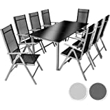 TecTake Aluminio conjunto muebles para jardin 8+1 silla adjustable mesa cristal terraza - disponible en diferentes colores - (Gris plateado | No. 402165)