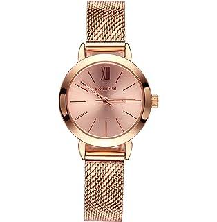 KASHIDUN Womens Watches Luxury Dress Fashion Gorgeous Waterproof Small Quartz Wristwatches Mesh Alloy Bracelet Rose Gold