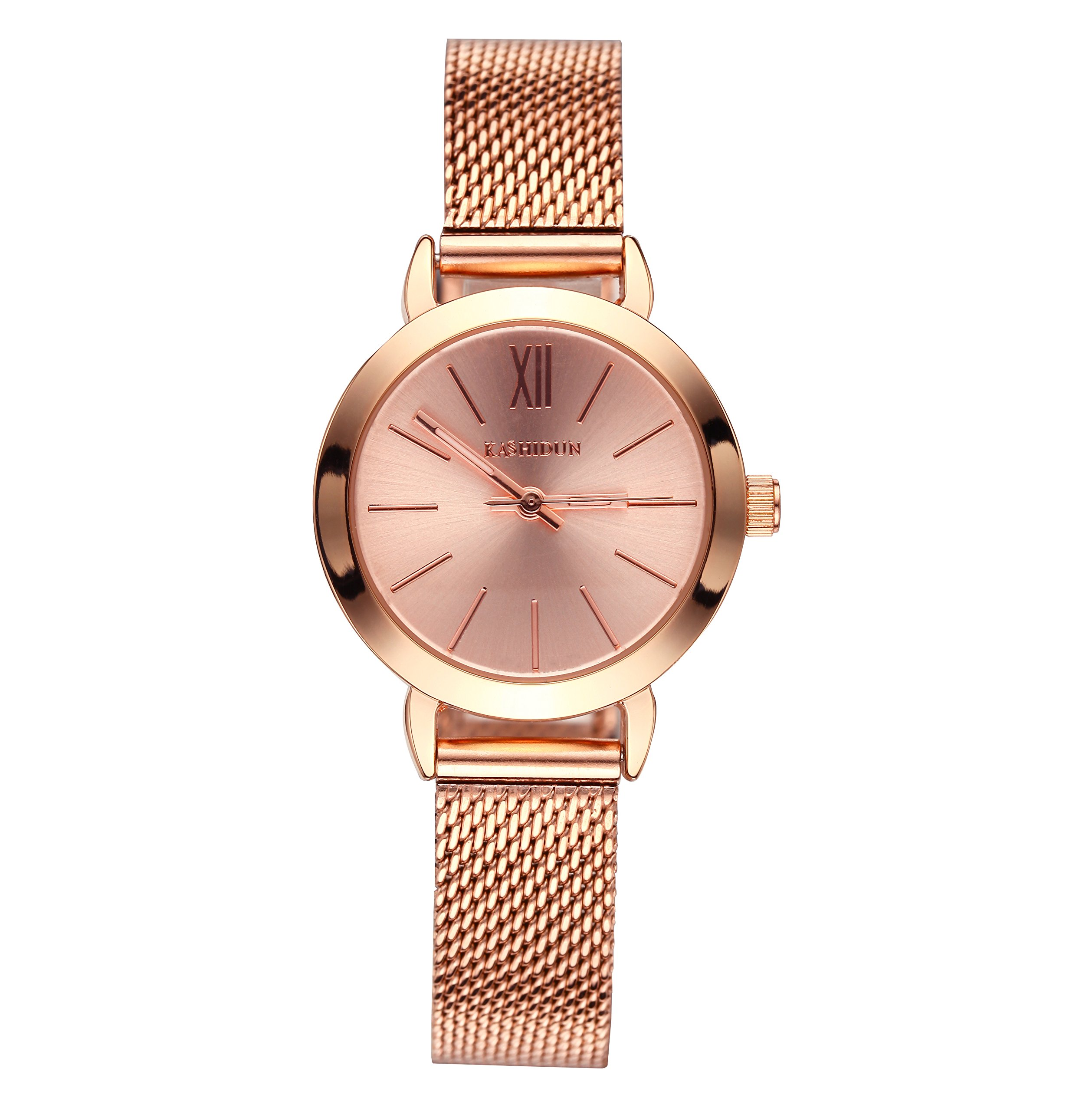 KASHIDUN Women's Quartz Watches Wrist Watches Rose Gold Small Dial Mesh Steel Milanese Bracelet.SD-MG