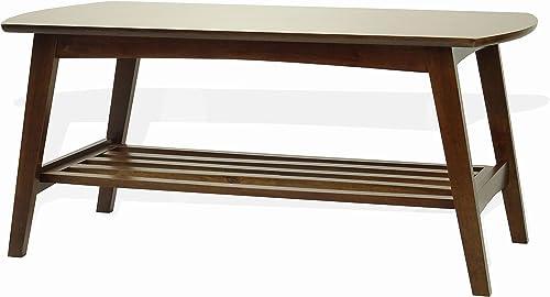 Rattan Wicker Furniture Modern Sacramento Rectangular Coffee Table Solid Wood Medium Brown Finish