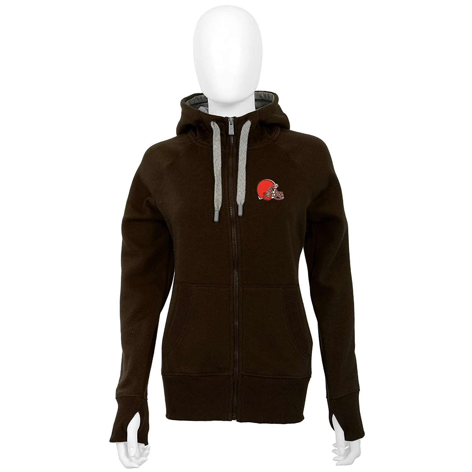 detailed pictures 7ce22 b25c0 Antigua Cleveland Browns Women's Brown Victory Zip-Up Hooded Sweatshirt