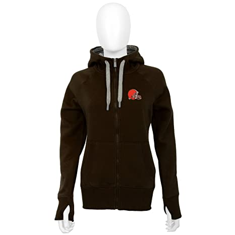 detailed pictures 1b257 6e4ed Antigua Cleveland Browns Women's Brown Victory Zip-Up Hooded Sweatshirt
