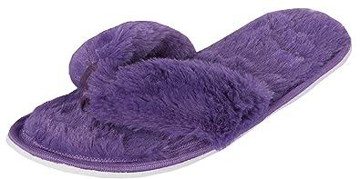 3885f7e1c813 Ladies Girls Toe Post Slippers Faux Fur Flip Flop Slippers Slip On Memory  Foam (UK