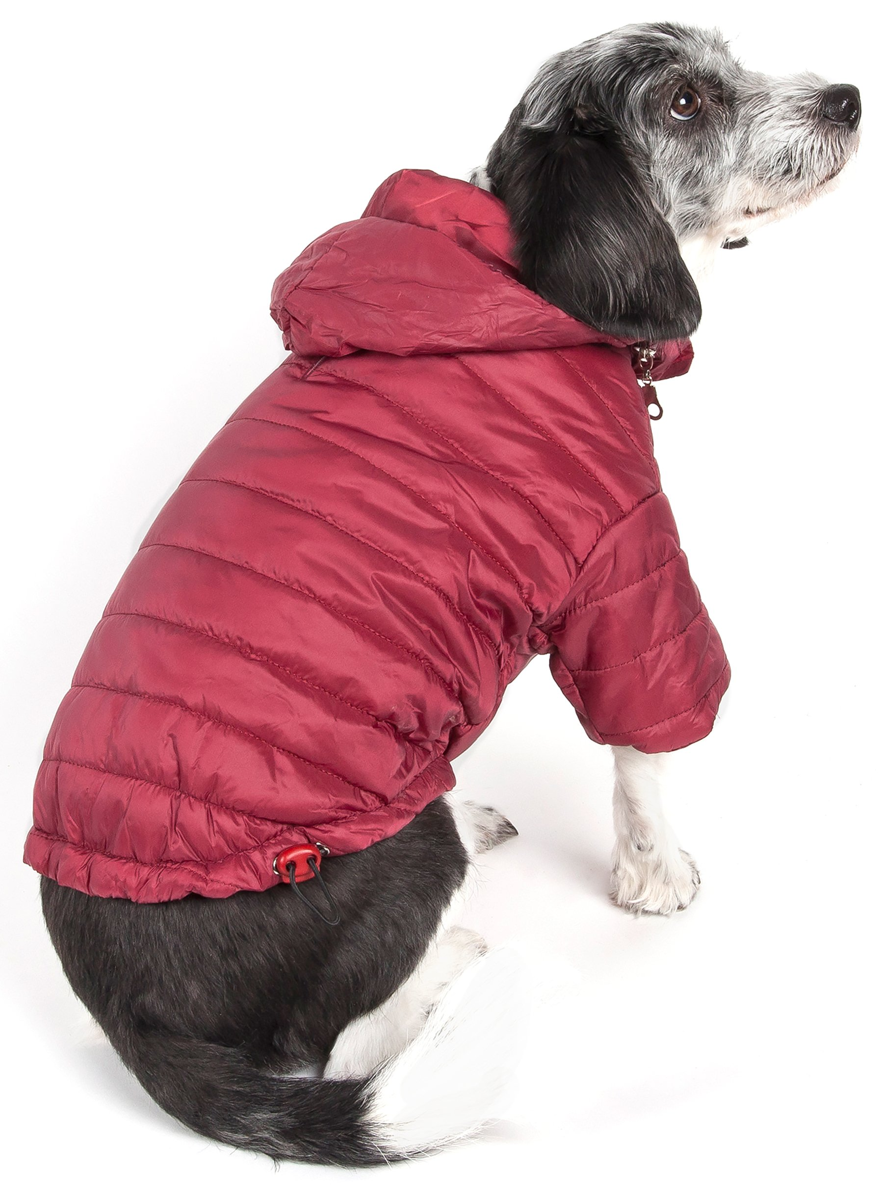 PET LIFE 'Sporty Avalanche' Lightweight and Adjustable Insulated Folding Travel Pet Dog Coat Jacket w/Built-in concealed hood, Large, Burgundy Red