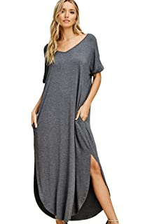 6b097e1796 Annabelle Women s V Neck Short Sleeve Split Long Maxi Dresses with ...