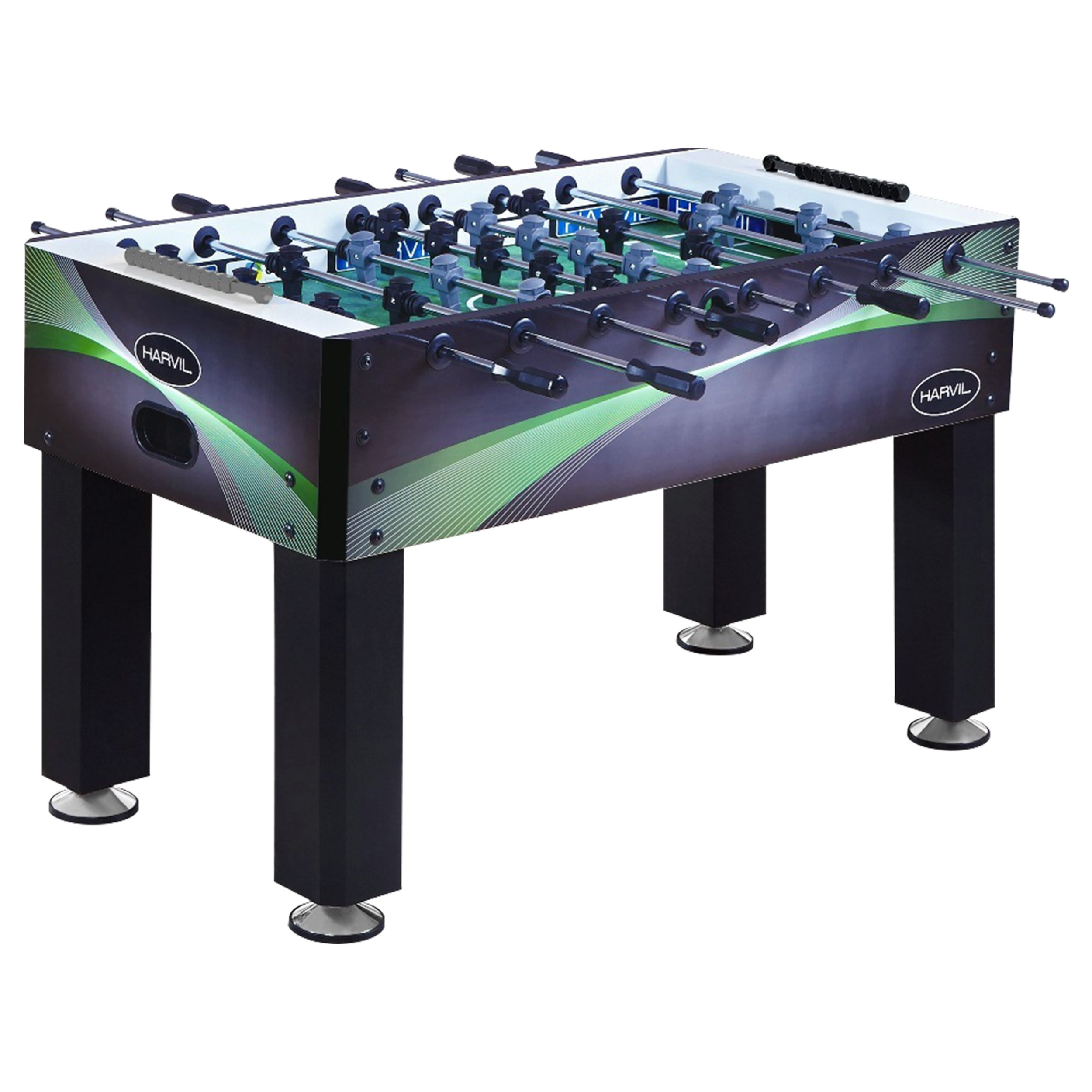 Harvil 54-Inch Defender Foosball Table with Leg Levelers, Steel Rods with Non-Slip Rubber Handles, and 2 Manual Scoring Units