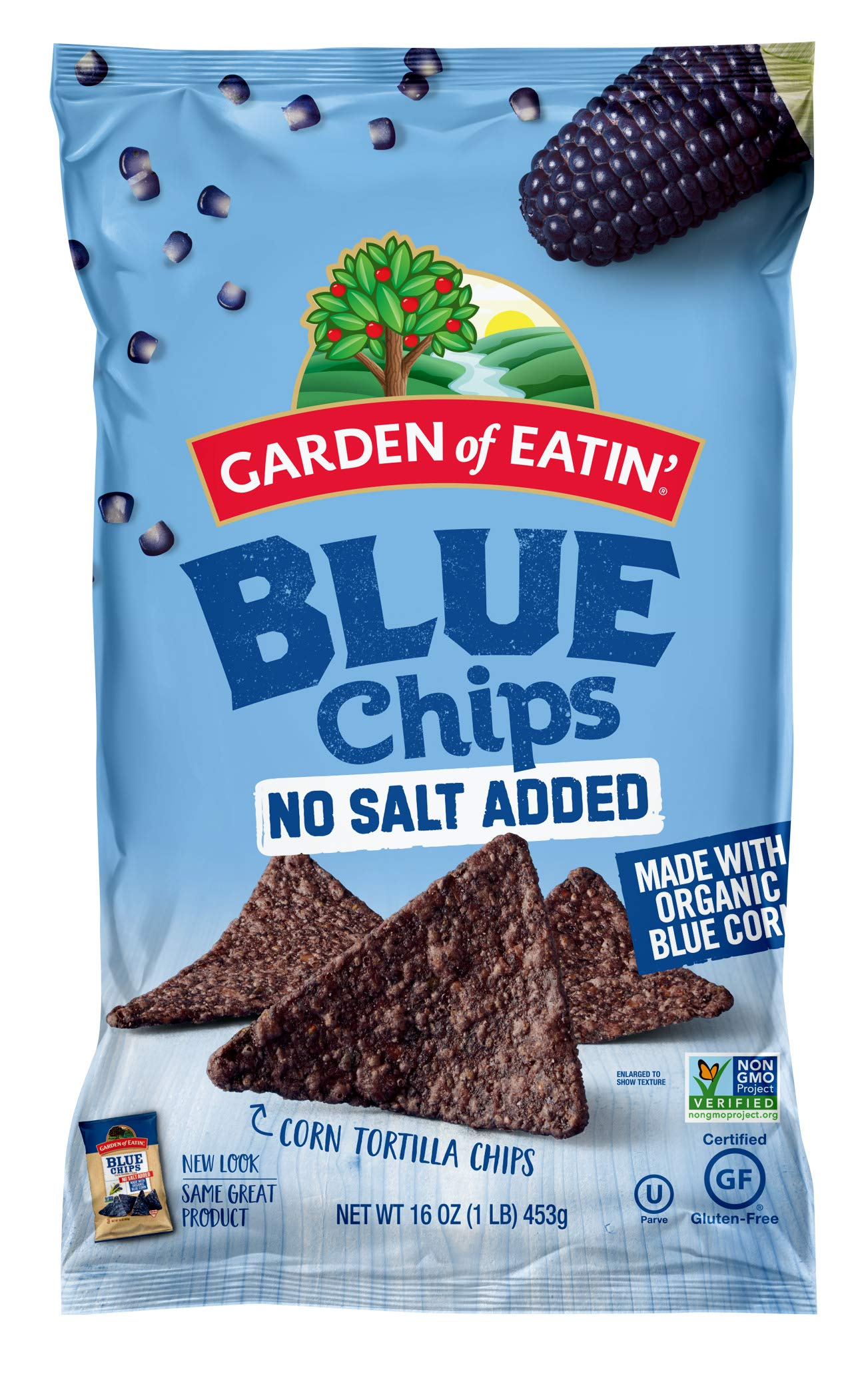 Garden of Eatin' No Salt Added Blue Corn Tortilla Chips, 16 oz. (Pack of 12) (Packaging May Vary) by Garden of Eatin'