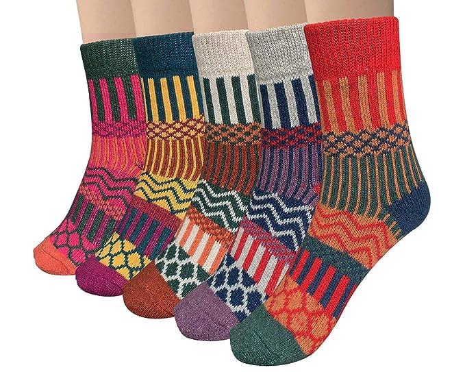 Vellette Calcetines algodón termicos ricos en algodon para Muje-Niña-Ideales para invierno EU