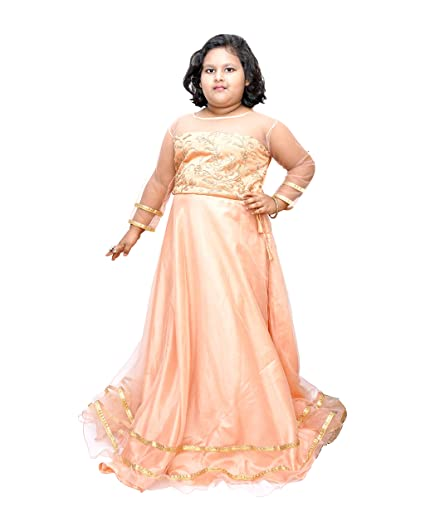 Lil Chunks Girls Net Gown/Maxi Dress Plus Size: Amazon.in ...