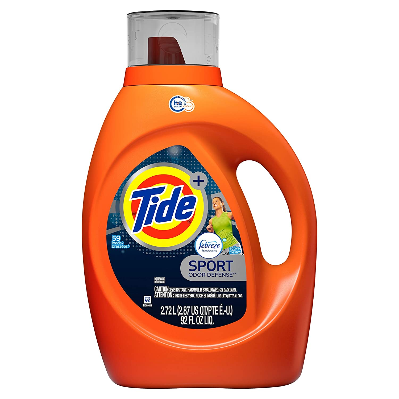Tide Plus Febreze Fresh Sport Odor Defense,Liquid Laundry Detergent, Active Fresh Scent, 2.72L