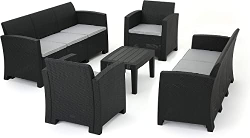 Great Deal Furniture Jacob Outdoor 5 Piece Charcoal Faux Wicker Rattan Style Chat Set