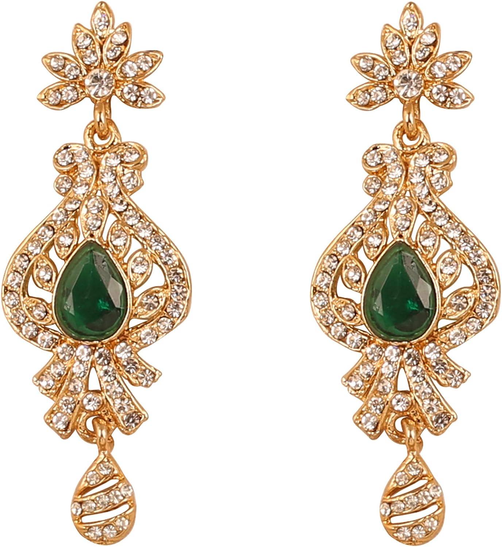 Touchstone Deseo motivo tradicional del pavo real indio facetado faux white rhines s grand designer nupcial joyería candelabro pendientes para mujer Verde