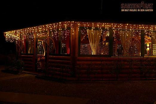 24,0 m Eisregen Lichterkette mit 960 LED warmwei/ß f/ür aussen und innen