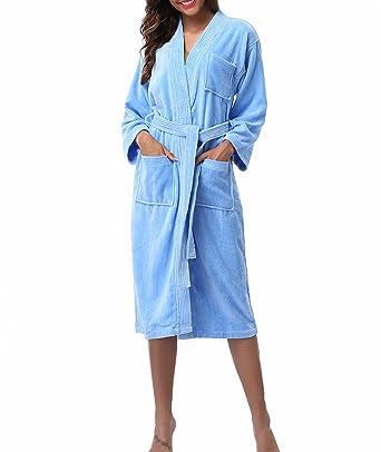 45205697a9 Kristin Fox Women s 100% Cotton Robe Turkish Kimono Bathrobe Soft Terry  Cloth Long