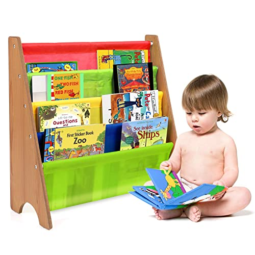 HOMFA Kinder Bücherregal | Kinder Bücherregale mit Stoff