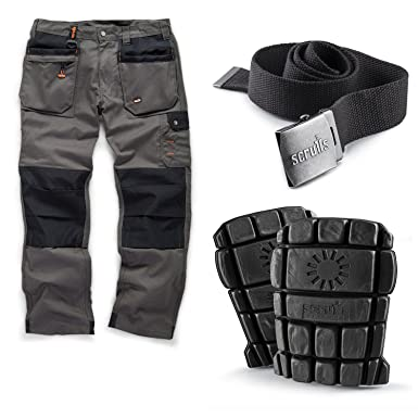 03ed15c2ba Scruffs Worker Plus Work Trousers with Knee Pads and Clip Belt:  Amazon.co.uk: Clothing