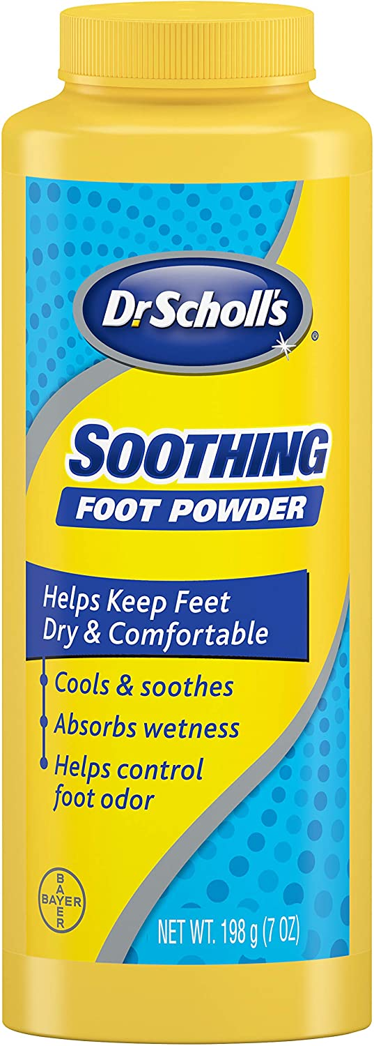 Dr. Scholl's Soothing Foot Powder, 7oz (Pack of 4) // Cooling and Soothing Powder with Fresh Scent for All-Day Protection Against Odor and Sweaty Feet: Health & Personal Care