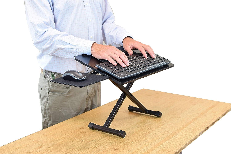 Sentarse de pie en el escritorio plataforma elevar teclados a pie sobre el escritorio KT3 Soporte ergon/ómico de altura ajustable y inclinaci/ón negativa para teclado y mouse para colocar de pie