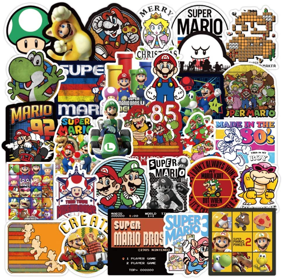 100 Pcs Super Mario Stickers, The Super Mario Waterproof Vinyl Stickers for Water Bottles Laptop Car Bicycle Motorcycle Refrigerator Luggage Cup Computer Mobile Phone Locker Skateboard Decals