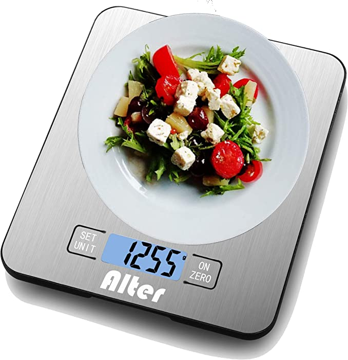 Digital Kitchen Scale Multi-Function Food Scale, 30 lb / 15 kg, Silver, Stainless Steel (Batteries Included)