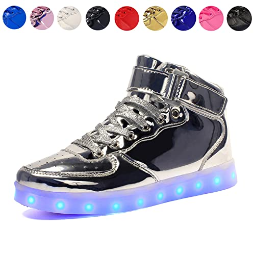 new product f97df 337de Voovix children's light shoes, flashing LED trainers, illuminous high top  trainers, USB charging, shoes for boys and girls Silver Size: 31 M EU /  12.5 ...