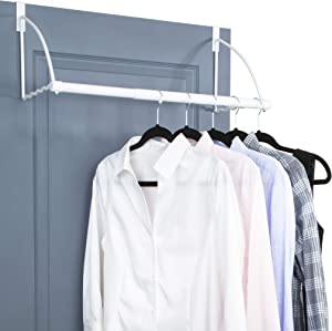 "Over The Door Closet Valet- Over The Door Clothes Organizer Rack and Door Hanger for Clothing or Towel, Home and Dorm Room Storage and Organization - Fits Doors up Till 1¾"" Thick(White)"