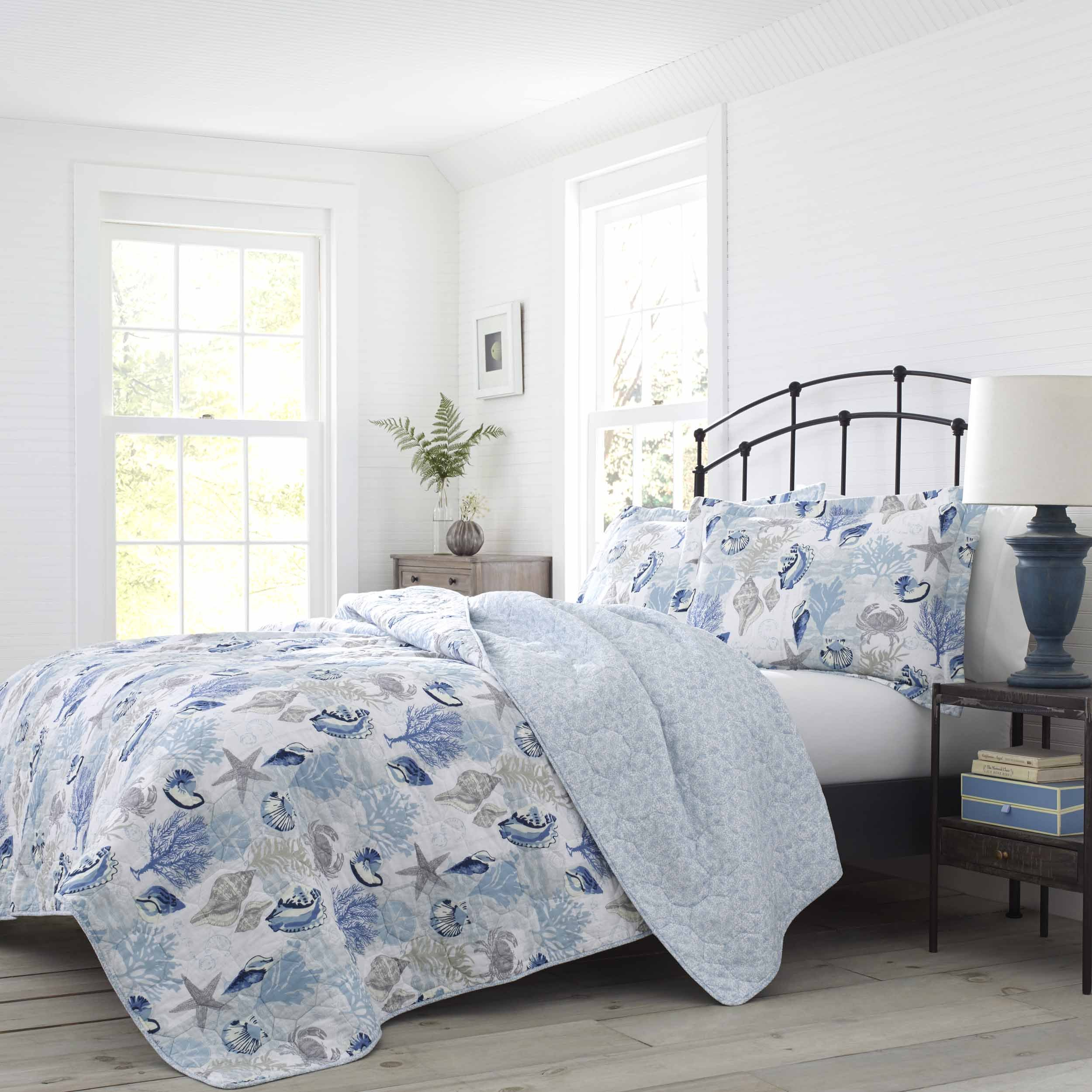 Laura Ashley Surf Spray Quilt Set, Twin, Pastel Blue