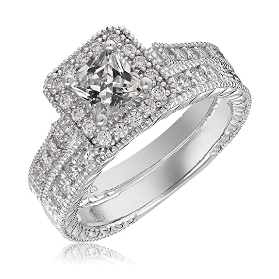 Review Mars wings Sterling Silver Platinum-Plated Elegant Cut CZ Diamond Engagement Wedding Ring Set 2pcs(New).