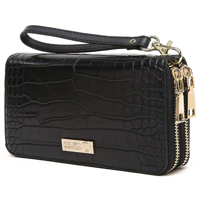 2d97b94b55e CrossLandy Women Men RFID Blocking Double Zip Leather Wallet Clutch ...