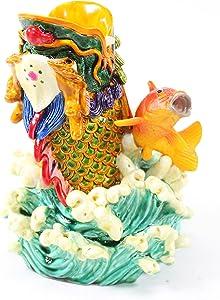 Feng Shui Vibrant Colorful Fish Carp Dragon Pen Holder Figurine Statues Wealth Lucky Figurine Home Decor(CarpDragon R011)