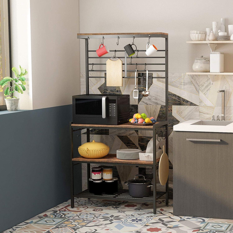 HOOBRO Kitchen Baker's Rack, Kitchen Microwave Oven Stand with High Display Shelf, 2 Wood Shelves and Mesh Panel, Kitchen Island Rack with 6 Hooks, Adjustable Feet, Metal Frame, Rustic Brown BF01HB01 - Standing Baker's Racks