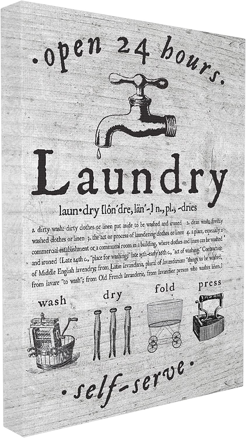 Stupell Home Décor Everything Laundry Vintage Stretched Canvas Wall Art, 16 x 1.5 x 20, Proudly Made in USA