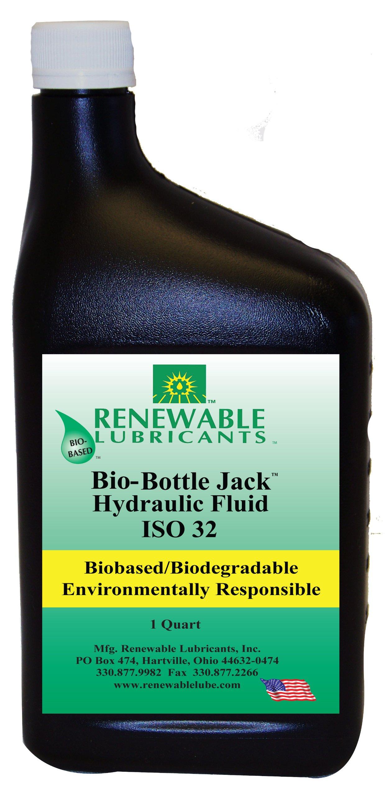 Renewable Lubricants Bio-Bottle Jack ISO 32 Hydraulic Lubricant, 1 qt Bottle