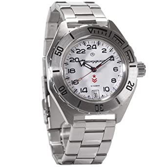 Vostok Komandirskie Automatic 24 Hour Dial Russian Military Wristwatch WR 200m #650546 (White)