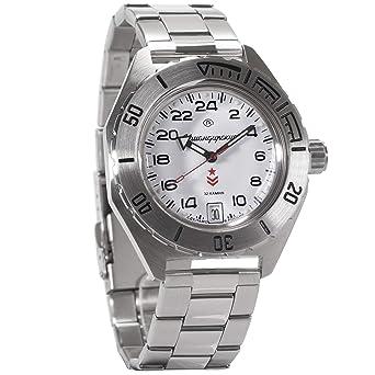 Vostok Komandirskie Automatic 24 Hour Dial Russian Military Wristwatch WR 200m #650546 (White)