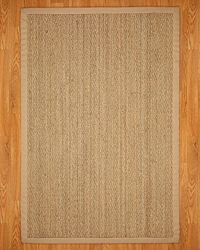 NaturalAreaRugs Opulence Area Rug Natural Seagrass Hand-Crafted Khaki Wide Canvas Border