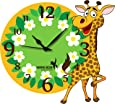 Hoopoe Decor Giraffe with Flowers Kids Acrylic Wall Clock (28 cm x 0.4 cm x 28 cm, Multicolour)