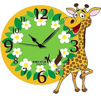 Buy Hoopoe Decor Baby Giraffe With Flowers Trendy Kids Wall Clock