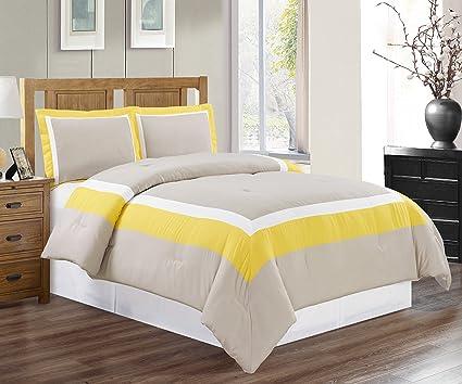 4 Piece KING Size SUNSHINE YELLOW / GREY / WHITE Color Block MILAN Goose  Down Alternative Comforter set 104\