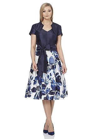 9aca5b3aafe398 Roman Originals Damen Online Exklusiv Kontrast Floral Muster Kleid Blua -  Blau - Größe 48