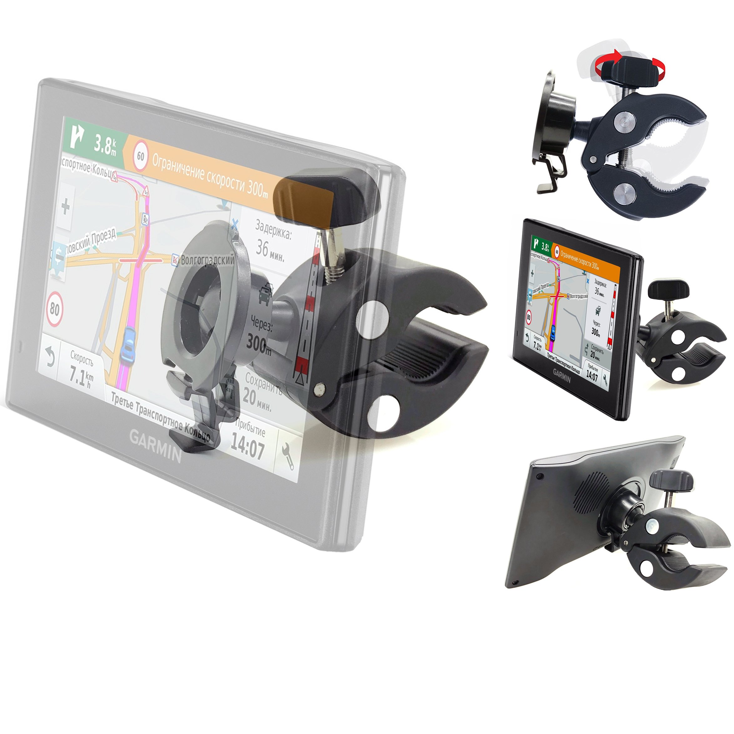 Heavy Duty Bike Motorcycle Clamp Mount Holder for Garmin Nuvi 52LM 54 55LMT 56LMT 57LMT 58LMT 66 67 68 2557 2559LMT 2597…