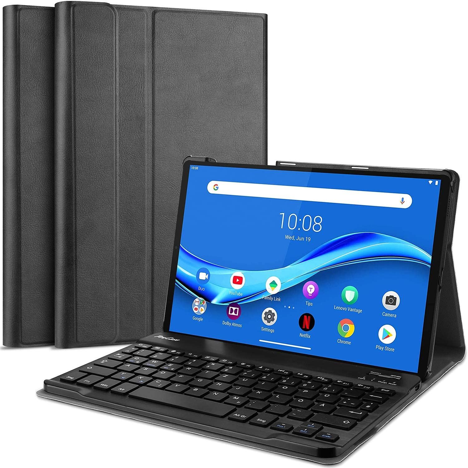 ProCase Lenovo Tab M10 FHD Plus Keyboard Case 10.3 Inch (2020 2nd Gen), Slim Lightweight Smart Cover with Magnetically Detachable Wireless Keyboard for Lenovo Tab M10 Plus TB-X606F TB-X606X –Black