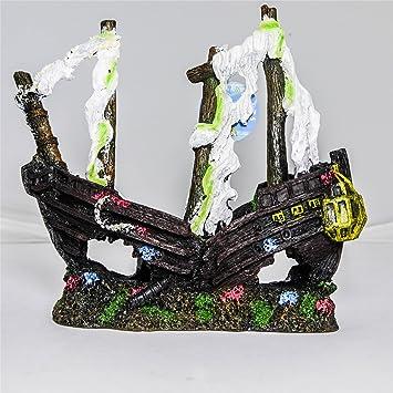 Barco Pirata Hundido de Poliresina Decoración para Acuario o Pecera: Amazon.es: Productos para mascotas