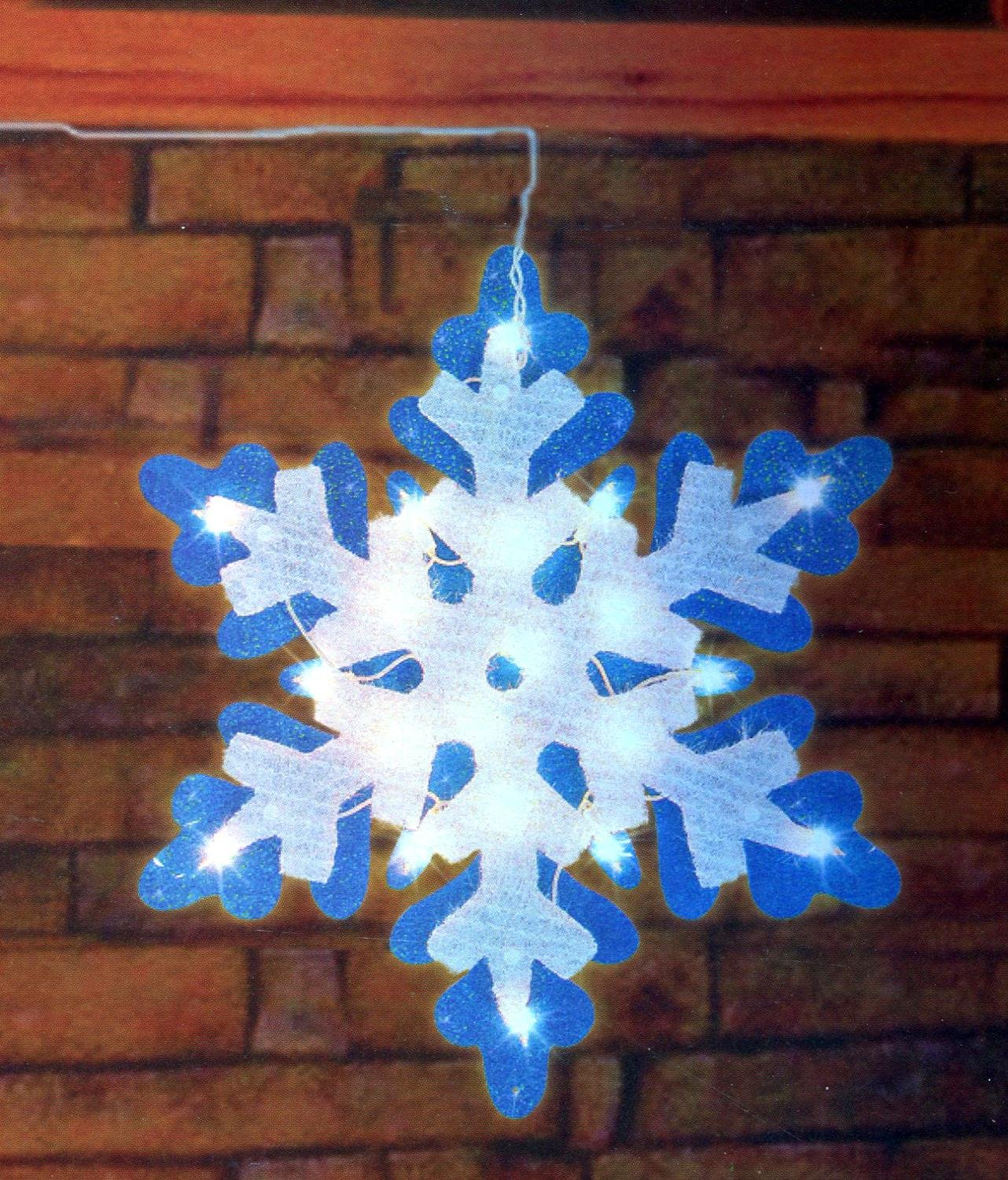 Impact 21'' Lighted Blue & White Tinsel Snowflake Christmas Window Silhouette Decoration