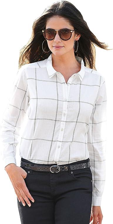 VENCA Camisa Cuello Camisero y Tapeta con Botones Mujer by Vencastyle - 007411, Cuadros Negro, XXL: Amazon.es: Ropa y accesorios