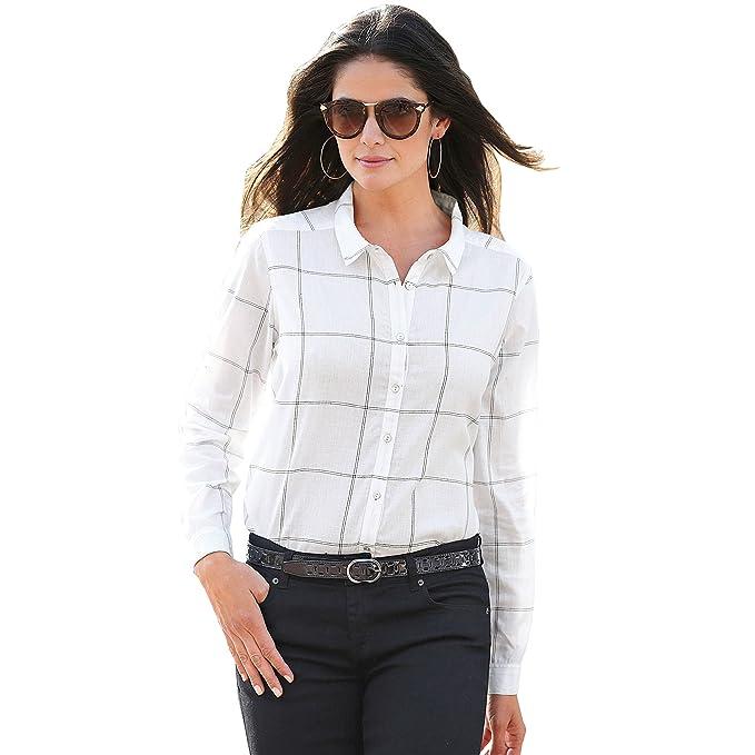 VENCA Camisa Cuello Camisero y Tapeta con Botones Mujer by Vencastyle - 007411: Amazon.es: Ropa y accesorios