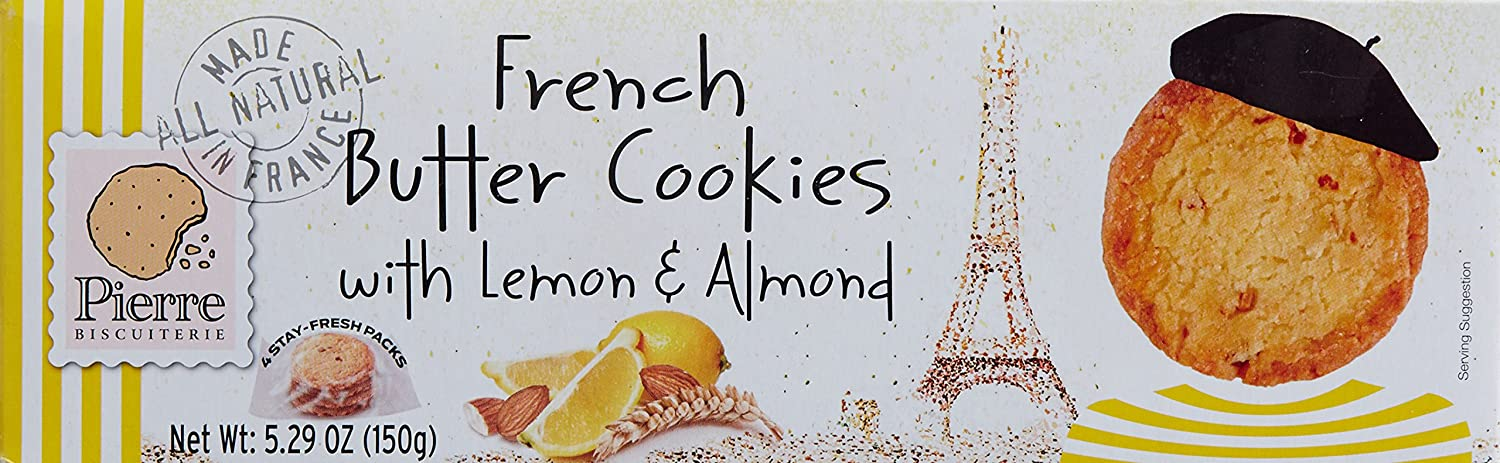 Amazon.com: PIERRE BISCUITERIE Lemon & Almond French Butter Cookies, 5.29 Ounce
