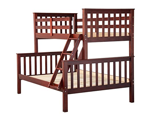 Palace Imports 100 Solid Wood Mission Twin Over Full Bunk Bed, Mahogany, 26 Slats Included. Optional Drawers, Trundle, Rail Guard Sold Separately. Requires Assembly.