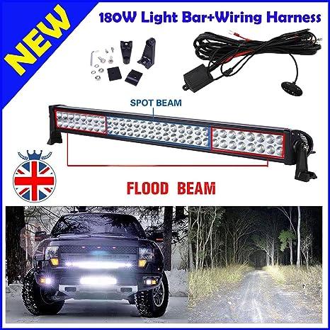 Barra de luces LED para coche (arnés de cableado, 180W